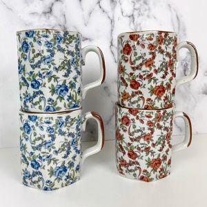 Vintage Farmhouse Floral Ceramic Mugs Set of Four